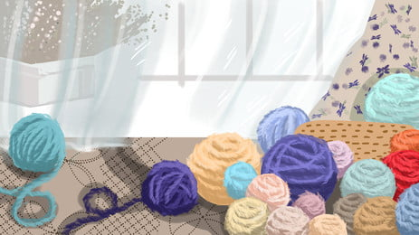 hand painted cute pet wool ball background material, Hand Painted, Ball Of Yarn, Purple Background image