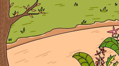 Vẽ tay đầu xuân cỏ xanh vật liệu Vẽ Tay Đầu Hình Nền
