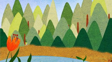 手描きの早春の森の背景素材, 手描き, 早春, ウッズ 背景画像