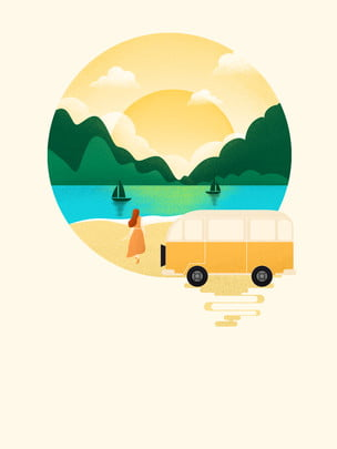 hand painted fresh lakeside car advertising background , Advertising Background, Lakeside, Hand Painted Background image