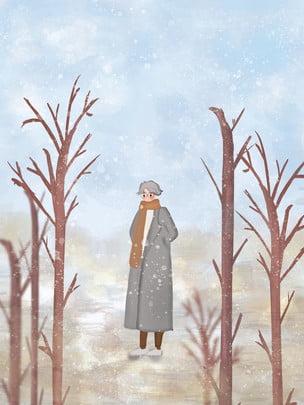 Bằng tay cây khô dưới nền bài hát của cô gái tiết đại Hàn Hai Mươi Bốn Hình Nền