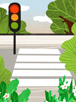 cây xanh vẽ tay dưới nền văn minh du lịch an toàn giao thông , Vẽ Tay, Cây Xanh, Ngựa Vằn Qua Ảnh nền