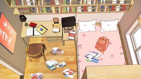 手描きの室内学習室の背景素材, 手描き, 屋内, 図書館 背景画像