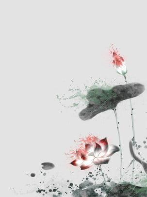 手描きのインク蓮の背景 , 手描きの背景, ロータス, 蓮の葉 背景画像