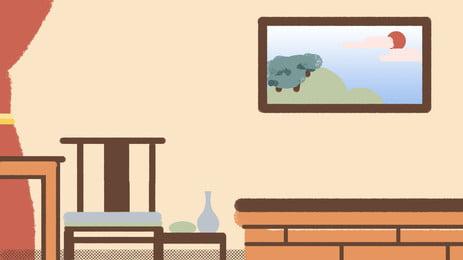 手描きのインテリアの写真フレームデザインの背景素材 手描き 屋内 額縁 表 いす 黄色の背景 カーテン フレームの背景 背景素材 広告の背景 手描き 屋内 額縁 背景画像