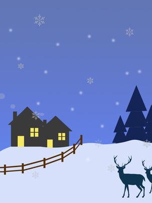 Vẽ tay tối giản gió hươu tuyết cảnh giáng sinh Vẽ Tay Phong Hình Nền