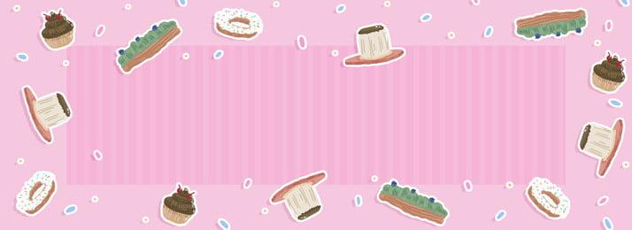手描きのピンクの女の子デザートバナーの背景 手描き ケーキ ドーナツ プリン スティックパフ 抹茶 手描き ケーキ ドーナツ 背景画像