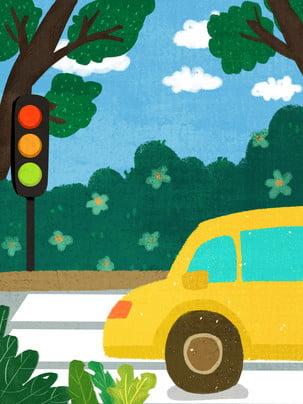 Vẽ tay an toàn xe du lịch vật liệu nền đèn Vẽ Tay Rừng Hình Nền