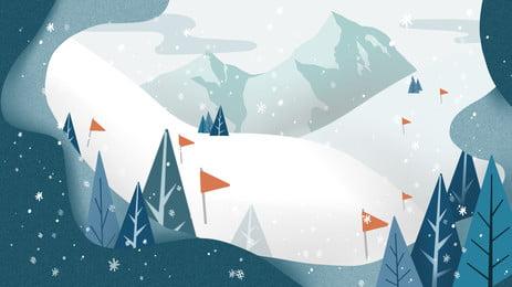 vẽ tay cảnh trượt tuyết bằng giấy cắt gió, Vẽ Tay, Cảnh Trượt Tuyết, Gió Cắt Giấy Ảnh nền