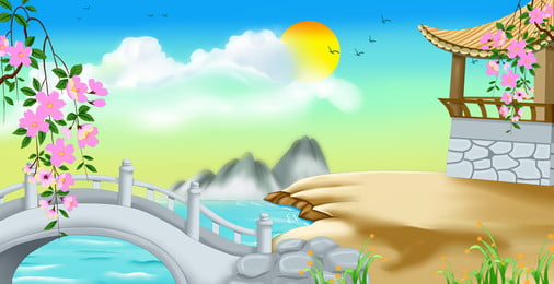 Hand Painted Small Bridge Color Background Material, Hand Painted, Small Bridge, Pavilion, Background image