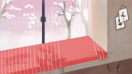 手繪窗外景色立冬背景素材, 手繪, 窗外, 景色 背景圖片