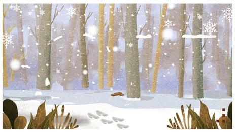 Madeiras pintadas à mão neve paisagem calendário capa material de fundo Mão Desenhada Madeiras Imagem Do Plano De Fundo