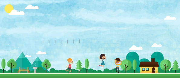幸せな公園の広告の背景を再生します。, 広告の背景, 新鮮な, 青い空 背景画像