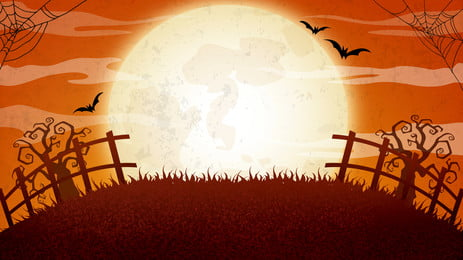 horror halloween silhouette illustration background design, Orange Red, Illustration Background, Halloween Background image