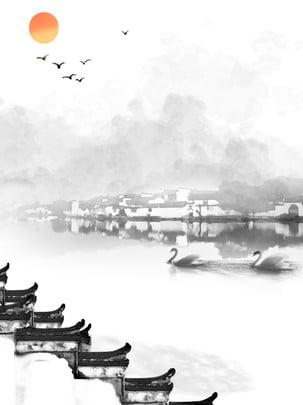 huizhou वास्तुकला स्याही पृष्ठभूमि , Huizhou वास्तुकला स्याही पृष्ठभूमि, स्याही स्थापत्य पृष्ठभूमि, हांगकांग स्याही पृष्ठभूमि पृष्ठभूमि छवि