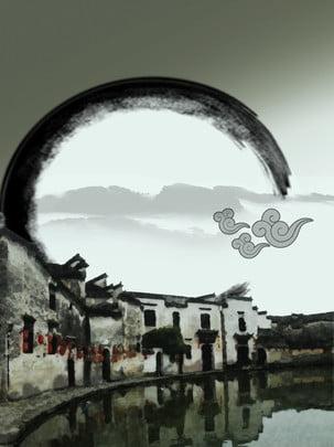 huizhou वास्तुकला स्याही पेंटिंग , घोड़े की सिर की दीवार, प्रतीक हवा, स्याही परिदृश्य पृष्ठभूमि छवि