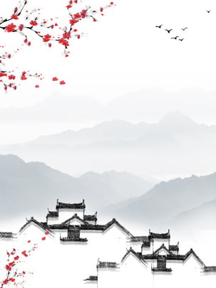स्याही की पृष्ठभूमि प्रतीक वास्तुकला , स्याही प्रतीक पृष्ठभूमि, Huizhou वास्तुकला पृष्ठभूमि, स्याही परिदृश्य पृष्ठभूमि पृष्ठभूमि छवि