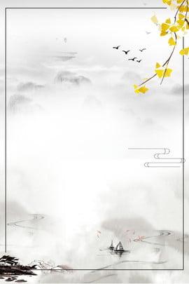 Ink Trung Quốc đôi phong cách vật liệu nền lễ hội Mực Phong cách trung Cảnh Hoa Lại Hình Nền