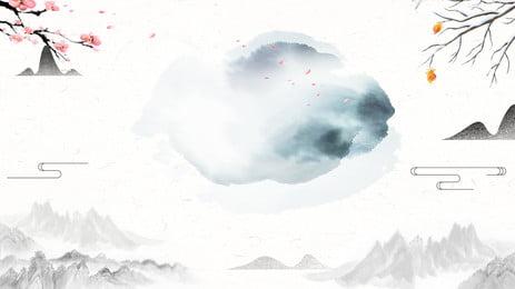 水墨中國風梅花背景設計 水墨 中國風 梅花背景圖庫