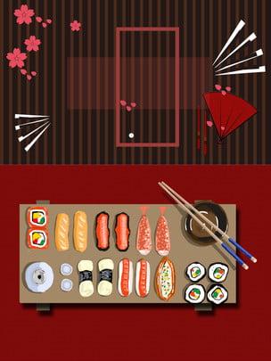 Material de fundo de sushi gourmet japonês Salsicha Salmão Fundo de sushi Material Material De Fundo Imagem Do Plano De Fundo
