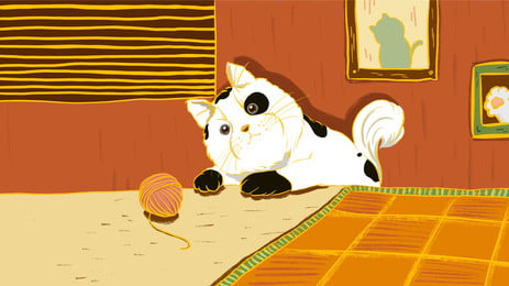kitten cartoon background playing with wool ball in living room, Living Room, Ball Of Yarn, Kitten Background image