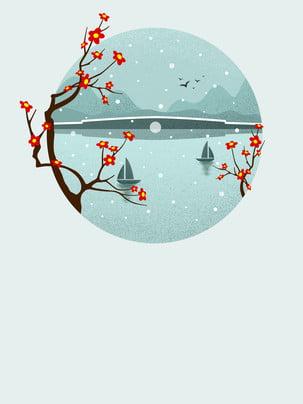 seepflaumenblüten werbungshintergrund , Hintergrund Der Werbung, Seeoberfläche, Blumenzweig Hintergrundbild