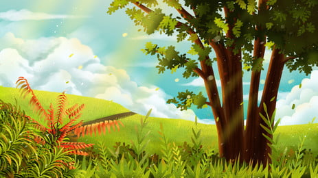 लैंडस्केप ग्रीन ट्री मैडो पृष्ठभूमि, नीले आकाश और सफेद बादल, हरी घास का मैदान, हाथ से चित्रित पृष्ठभूमि पृष्ठभूमि छवि