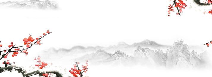 山水水墨梅花背景banner圖 山水圖 水墨風格 中國風背景圖庫