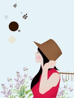 cô gái quảng cáo nền hoa oải hương , Trinh Nữ, Mũ, Quảng Cáo Nền Ảnh nền