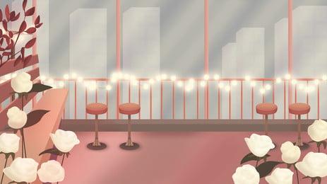 照明パーティーの背景 アニメ 椅子 ロマンチック 背景画像