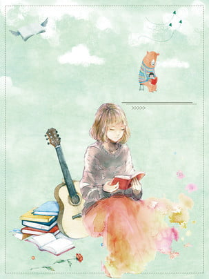 艺文少女廣告背景 , 樂器, 書本, 雲朵 背景圖片