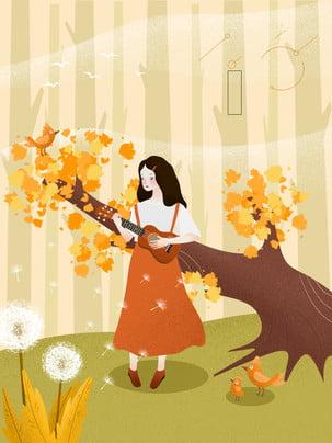 艺文吉他少女廣告背景 , 吉他, 少女, 廣告背景 背景圖片