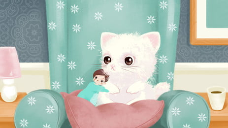 छोटी लड़की और बिल्ली कार्टून पृष्ठभूमि पर सोफे बैठे हैं, शयनकक्ष, सोफ़ा, छोटी लड़की पृष्ठभूमि छवि