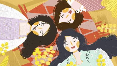 छोटी लड़की सिर के बल खुश कार्टून पृष्ठभूमि, पीले पत्ते, छोटी लड़की, सुखी पृष्ठभूमि छवि