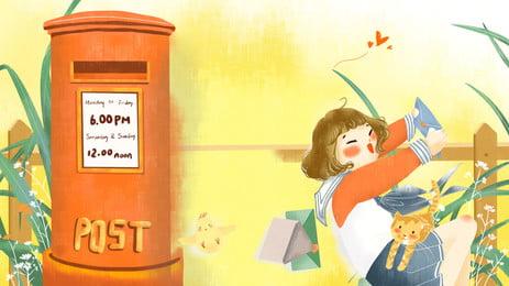 little girl reading letter cartoon background, Gadis Kecil, Peti Mel, Daun imej latar belakang