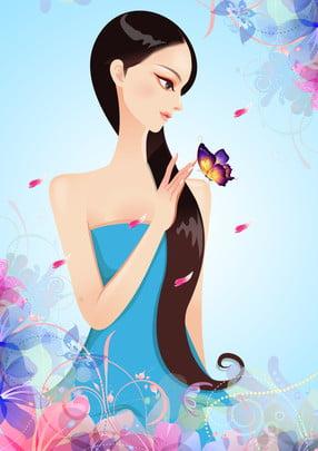 लंबे बालों वाली लड़की की विज्ञापन पृष्ठभूमि , विज्ञापन की पृष्ठभूमि, किशोर लड़की, तितली पृष्ठभूमि छवि