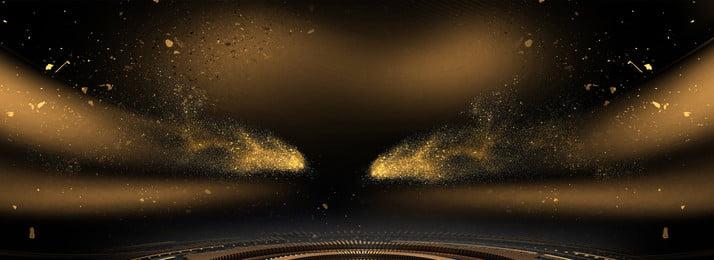 雄大な雰囲気のブラックゴールド風バナーの背景, 黄金の破片, 黄金の渦, ゴールデンライト 背景画像