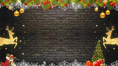 メリークリスマスブラックブリックゴールドエルクの背景素材, ゴールデンエルク, 黒レンガの背景, クリスマスの飾り 背景画像