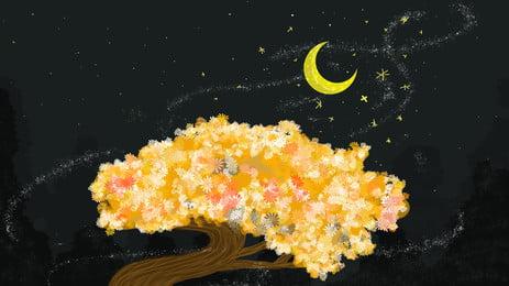 金色樹葉上的月亮卡通背景, 金色, 樹葉, 樹木 背景圖片