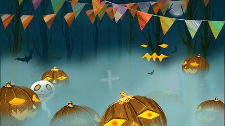 神秘的なハロウィーンカーニバルの夜の背景 漫画 ホラー ハロウィーンの背景 背景画像