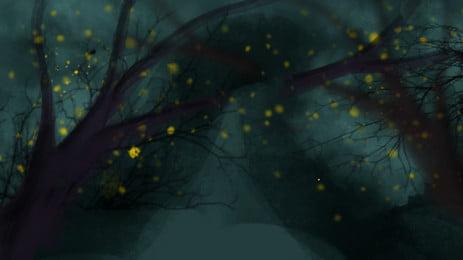 रहस्यमय हैलोवीन वन जुगनू पृष्ठभूमि डिजाइन रहस्य हैलोवीन पृष्ठभूमि पृष्ठभूमि छवि