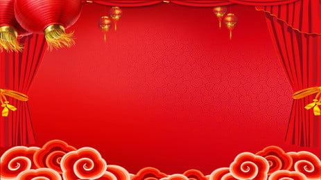 Đèn lồng đỏ mùa xuân mới vật liệu nền đám mây tốt lành Nền đảng Triển Hình Nền