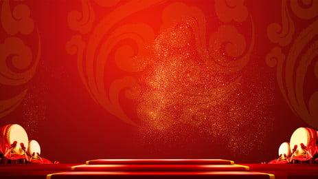 2019新年ランタンフェスティバルの雰囲気中華風赤背景, お正月, バナーの背景, ランタンフェスティバル 背景画像
