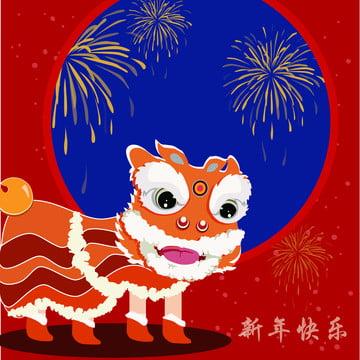 새해 사자 무용 배경 , 새해 배경, 사자춤, 축제 배경 이미지