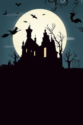 night castle bat halloween h5 background material , Black, Night Sky, Bat Background image