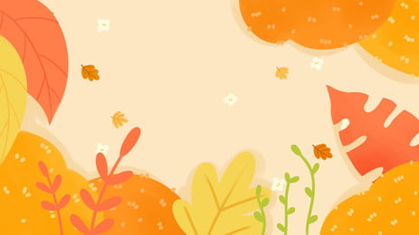 october hello cute autumn leaves background design, Cartoon, Golden, Autumn Background image