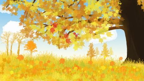 十月你好金秋落葉背景設計, 唯美, 金秋背景, 插畫背景 背景圖片
