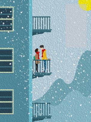 lễ hội osamu trên ban công nói chuyện đôi , Tuyết, Lễ Hội Osamu, Mùa đông Ảnh nền