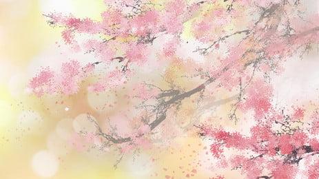 Matériau de base peint de branches de fleur de vent antique Peint Style ancien Branche de Fond PSD Daffichage Image De Fond