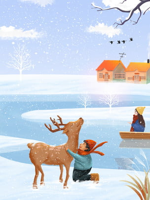 Vẽ thiết kế nền lễ hội tuyết đẹp Nai Sừng Tấm Hình Nền